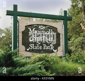 Sign for Mammoth Spring State Park Mammoth Springs AR - Stock Photo