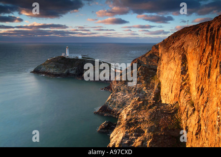 Evening Sunlight on South Stack Lighthouse, Holy Island, Anglesey, North Wales, United Kingdom - Stock Photo