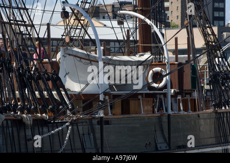 Closeup of the white lifeboat on the RRS Discovery ship at Discovery Point in Dundee, UK - Stock Photo