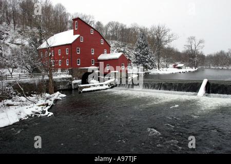 Clinton's landmark Red Mill, located in Hunterdon County, New Jersey USA - Stock Photo