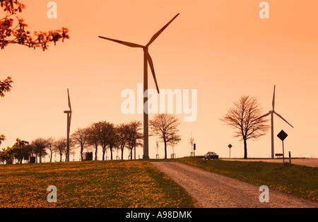 Wind turbines on a windfarm or windpark in Schleiden Schoneseiffen, Eifel Region, Germany Europe - Stock Photo