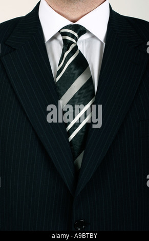 business man in black striped suit - Stock Photo