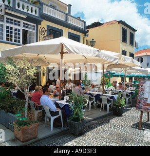 Sidewalk Restaurant in the Old Town (Zona Velha), Funchal, Madeira, Portugal - Stock Photo