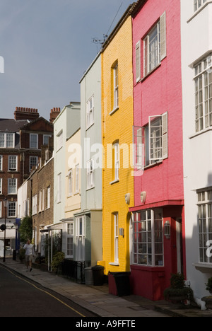 Colourfully painted houses .The Royal Borough of Kensington and  Chelsea. London SW3. England.  HOMER SYKES - Stock Photo
