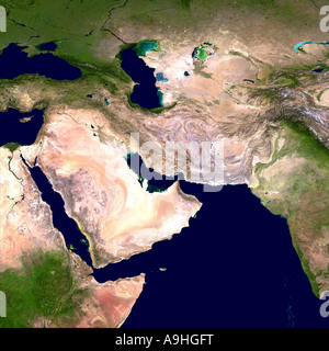 Western Asia and Egypt as seen from Space - Stock Photo