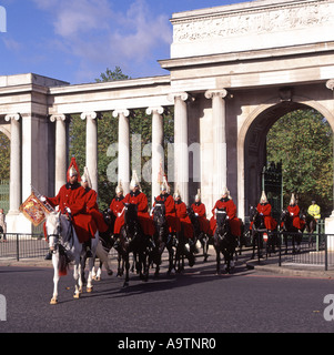 Hyde Park Corner The Household Cavalry Mounted Regiment on way to changing guard duty - Stock Photo