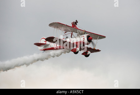 Team Guinot Wingwalking Team Boeing PT17 Kaydet Bi-Plane - Stock Photo
