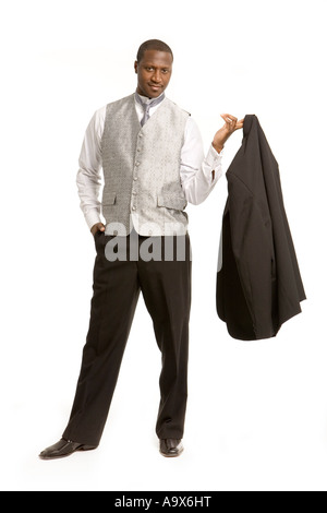 Attractive young man looking very smart in wedding clothes - Stock Photo