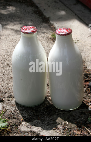Two red topped full milk bottles outside a front door. - Stock Photo