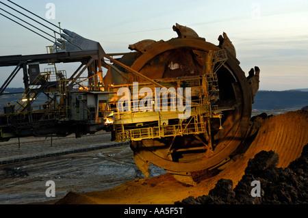 Garzweiler II open cast coal mine near Cologne, Germany; close up of bucketwheel excavator. - Stock Photo