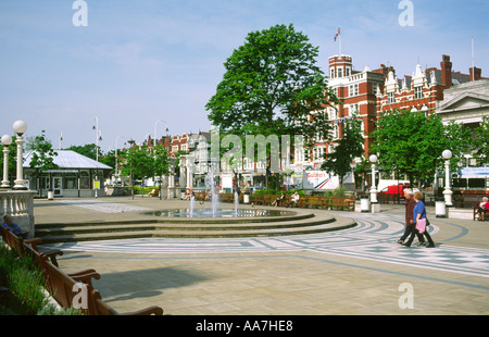 Lord Street and the Scarisbrick Hotel in Southport town centre, Merseyside, England. UK, United Kingdom. - Stock Photo