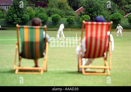 Spectators watch a cricket match - Stock Photo
