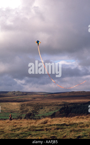 Kite flying on Dartmoor Devon England - Stock Photo