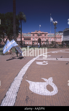 Mothers symbols painted on pavement and Casa Rosada, Plaza de Mayo, Buenos Aires, Argentina - Stock Photo