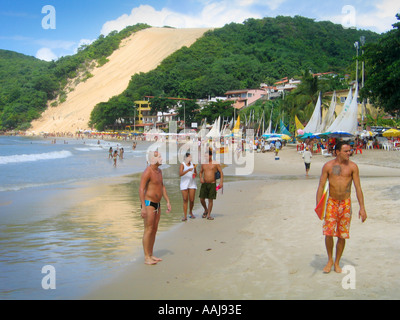 The giant sand dune Morro da Careca on Praia do Ponta Negra beach in Natal Brazil - Stock Photo