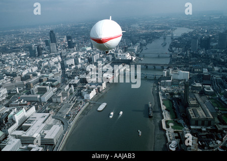 Aerial view of airship over London - Stock Photo