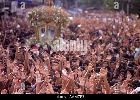 Cirio de Nazare religious festival City Belem State Para Brazil Religion faith religious fervour hands up - Stock Photo