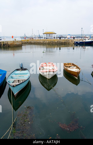 Falmouth Cornwall UK small wooden boats in the harbour - Stock Photo