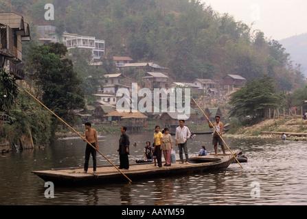 Mae Sai River the border between Thailand and Myanmar Burma - Stock Photo