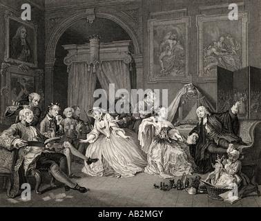 Marriage a la Mode Toilette scene From the original picture by Hogarth - Stock Photo