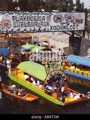 Mexico City, Xochimilco Flower Boats - Stock Photo