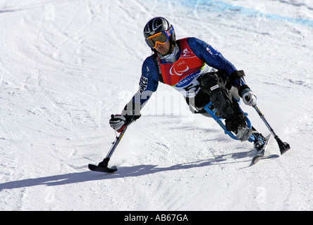 Jean Yves Le Meur of France in the Mens Alpine Skiing Giant Slalom Sitting competition - Stock Photo