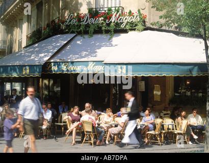 Cafe Les Deux Magots on St. Germain on the Paris Left Bank - Stock Photo