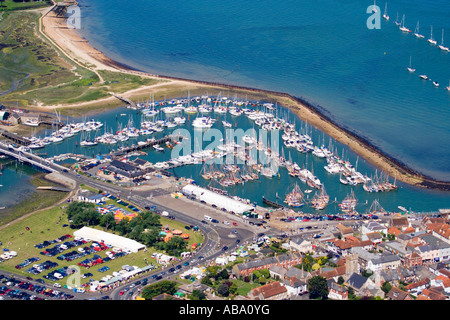 Aerial view. Yarmouth harbour, marina and properties. Isle of Wight. UK. - Stock Photo