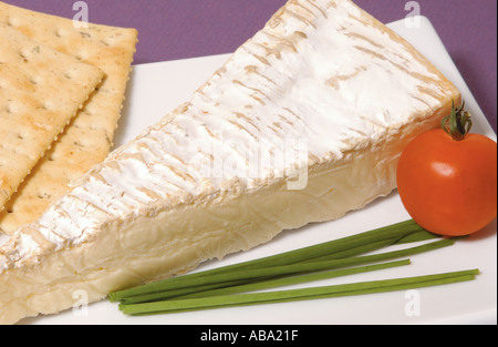 Slice of Brie Cheese and Biscuits - Stock Photo