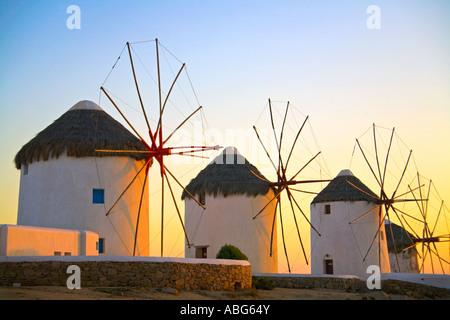 Mykonos Iconic Windmills  Aegean Sea Greece Europe - Stock Photo