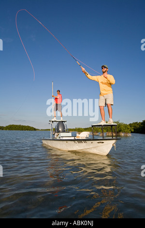 Salt water fly fishing, Florida Keys, USA - Stock Photo