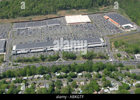 Aerial view of shopping center located in Watchung, New Jersey, U.S.A. - Stock Photo
