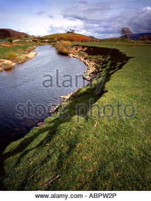 River view in between Hawes and Aysgarth Wensleydale - Stock Photo