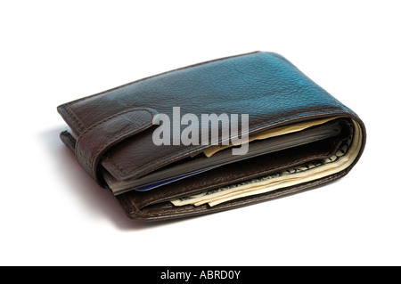 Leather wallet with dollar bills Isolated over white cutout Money - Stock Photo