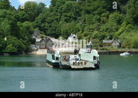 King Harry Ferry Boat Crossing The River Fal Cornwall England United Kingdom UK - Stock Photo