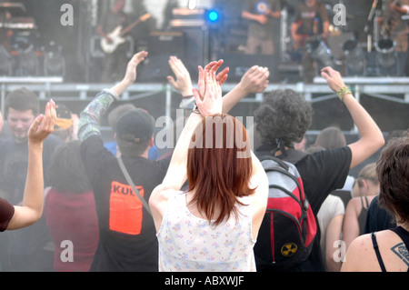 Rock music concert with many young people - Stock Photo