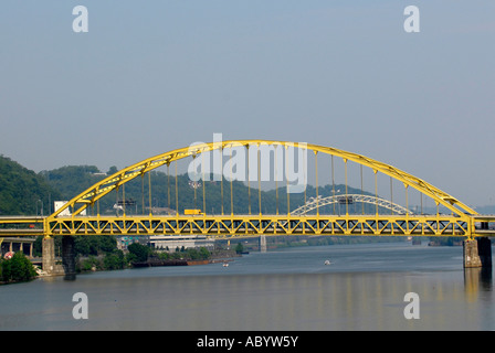 Fort Pitt Bridge over the Monongahela River in the city of Pittsburgh Pennsylvania Pa USA - Stock Photo
