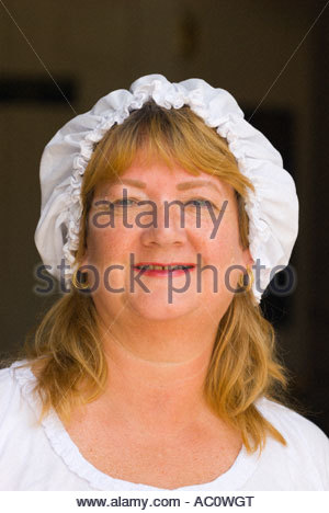 Staff wearing colonial costumes at the Old Exchange Provost Dungeon in the historic center of Charleston South Carolina - Stock Photo