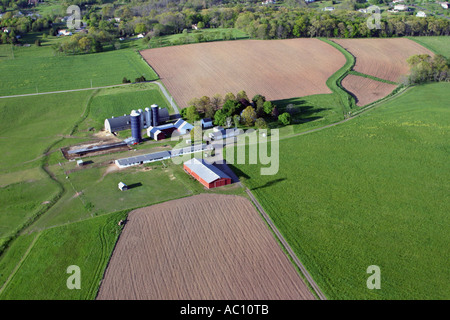 Aerial view of farm in New Jersey, U.S.A. - Stock Photo