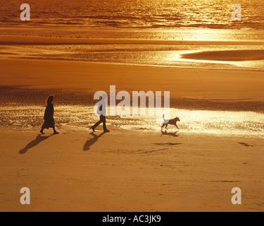 GB - LANCASHIRE:  Evening stroll along Blackpool Beach - Stock Photo