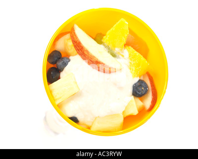Fruit Salad with Fat Free Yoghurt - Stock Photo