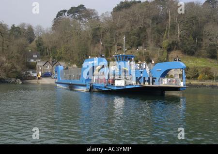 King Harry Ferry on the Fal estuary Cornwall England - Stock Photo