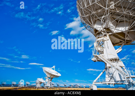 Satellite dishes dish of radio telescope astronomy observatory Very Large Array VLA near Socorro New Mexico US USA - Stock Photo