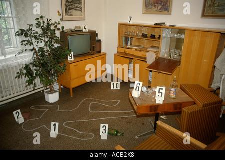 Prague Czech Republic Murder crime scene exhibit in the Police Museum - Stock Photo