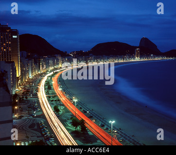 Rio de Janeiro Brazil Overview of Copacabana beach at night - Stock Photo
