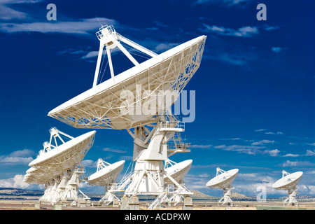 Radio telescope satellite dishes dish of astronomy observatory Very Large Array VLA near Socorro New Mexico US USA - Stock Photo