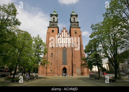 Monumental cathedral on Cathedral Island (Ostrow Tumski) in Poznan, Poland - Stock Photo