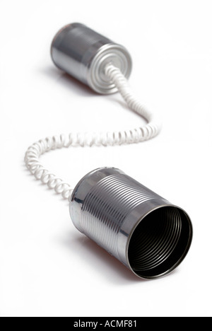 Tin can telephone - Stock Photo