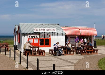 A Seaside Beach-front village Cafe _ The Links Tearooms, Nairn, Scotland uk - Family British Tea Room - Stock Photo