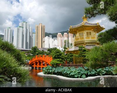 Golden Pavilion and red bridge in Nan Lian Garden beside Chi Lin Nunnery Hong Kong 2007 - Stock Photo